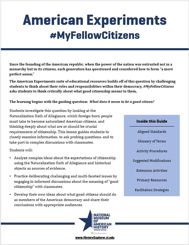 "Thumbnail image of the ""#MyFellowCitizens"" lesson plan"