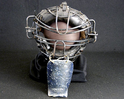 Baseball catcher's mask made of metal and plastic