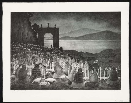 "Black and white lithograph depiction of the ""Night of the Dead"""