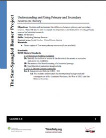 Thumbnail  image of Understanding and Using Primary and Secondary Sources in History resource