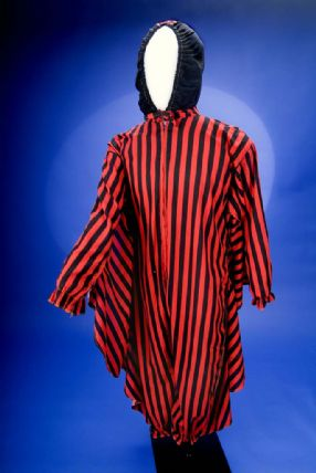 Red and black striped cloak with black hood carnival costume