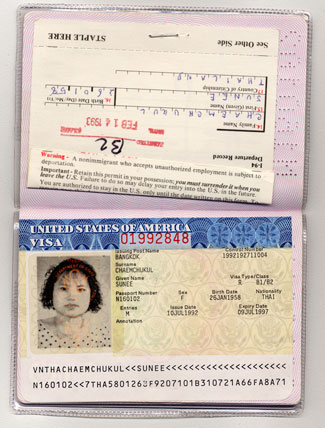 Image of a falsified Thai passport