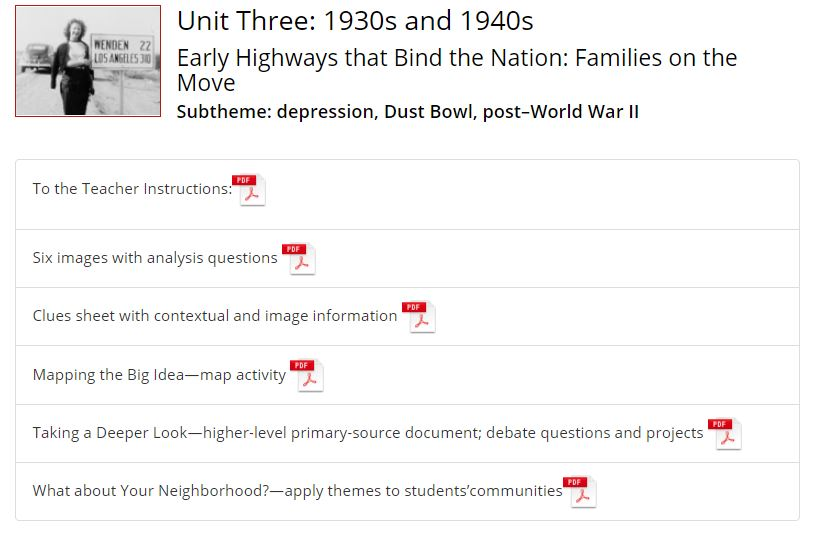 Thumbnail image of 1930s and 1940s  Highways Classroom Activity Guide resource