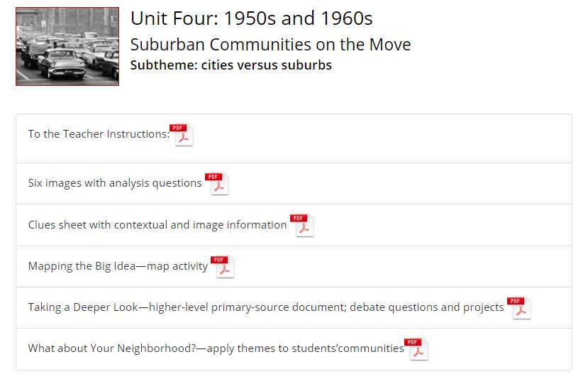 Thumbnail image of 1950s and 1960s Suburban America Classroom Activity Guide resource