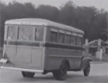 Black and white image of a school bus for the Brown v. Board of Education Electronic Field Trips resource