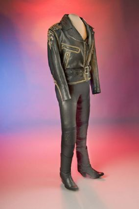 Black leather performance outfit worn by Selena Quintanilla