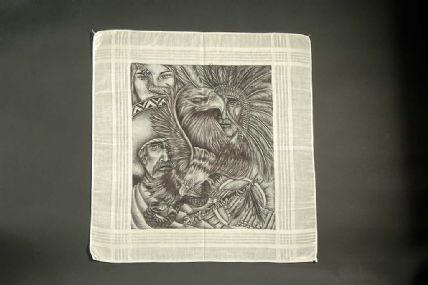 Cotton handkerchief with black ink