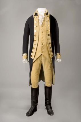 George Washington's blue wool coat fastened with metal buttons