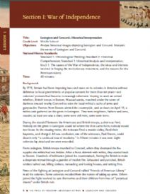 Thumbnail image of Lexington and Concord: A Historical Interpretation Lesson resource