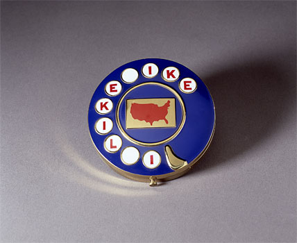 "Woman's Eisenhower blue campaign compact with ""I Like Ike"" slogan"