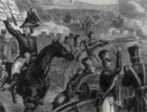 Black and white image of a battle scene for the First Person Account: George Ballentine resource