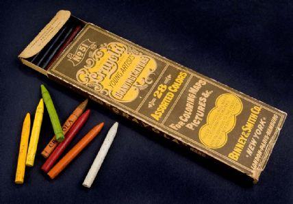 Cardboard box of Crayola crayons