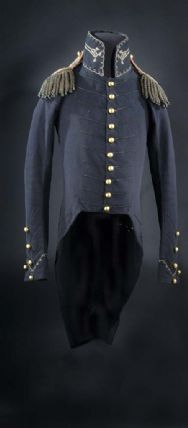 Blue wool uniform coat, gold-colored buttons on jacket front and sleeves. Epaulettes and gold trim at neck and cuffs.