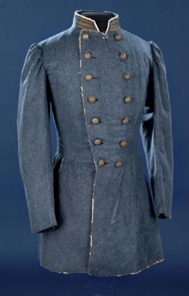 Double-breasted grey wool Confederate officer's frock coat