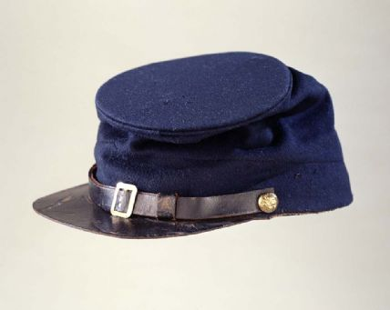 Enlisted man's dark blue forage cap with black leather visor