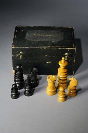 McClellan's chess set made of ivory, wood, and fabric