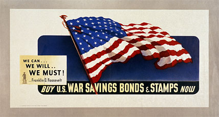 World War II colored paper poster with American flag and yellow lettering