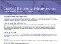 Thumbnail image of Jazz Oral Histories as Primary Sources resource