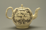 Ceramic creamware Stamp Act teapot