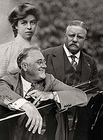 Black and white image of the Roosevelts for The Roosevelts: A Conversation with Ken Burns resource