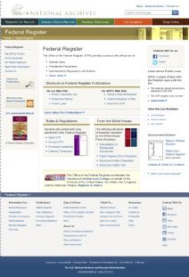 Thumbnail image of the Federal Register at the National Archives resource