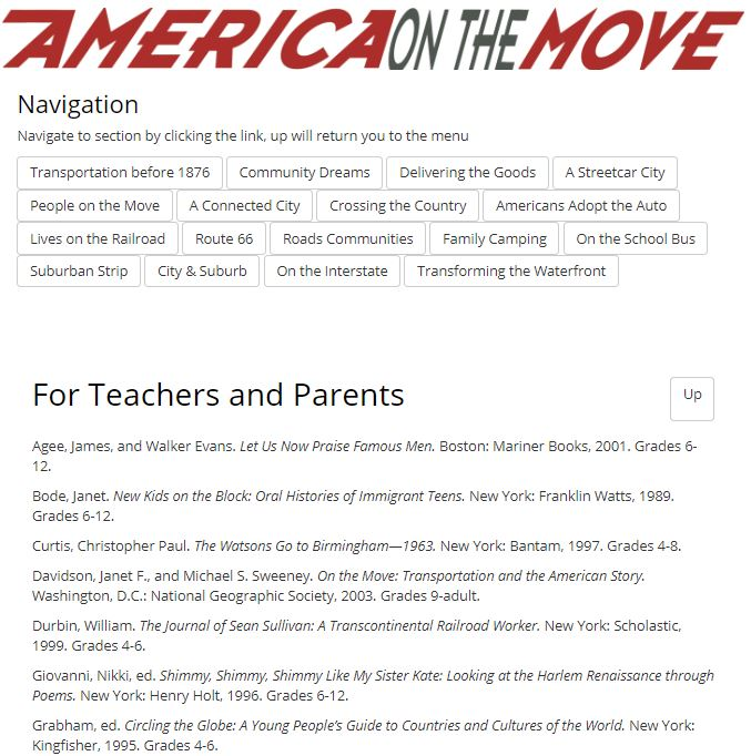Thumbnail image of America On The Move Reading List