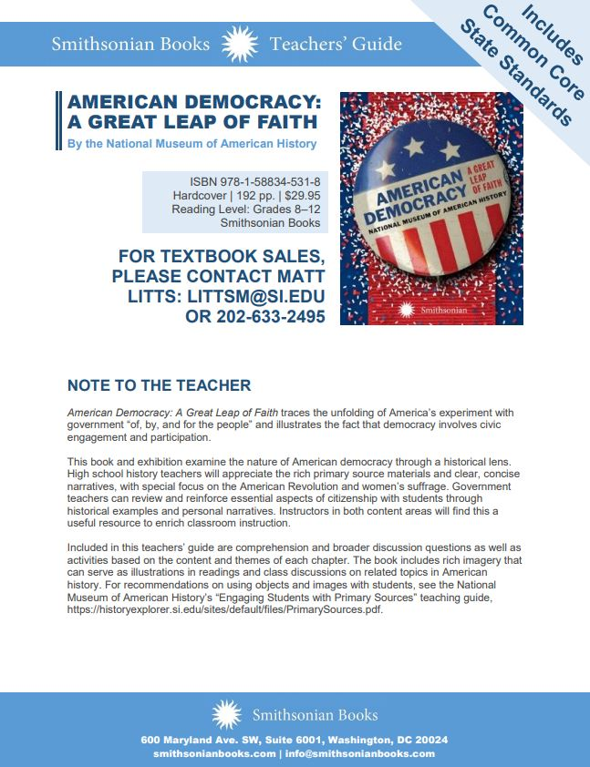Front page of educators' guide for American Democracy: A Great Leap of Faith