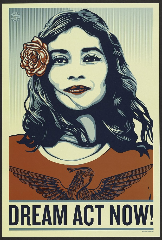 "Poster of a woman with the words ""Dream Act Now!"" on the bottom"
