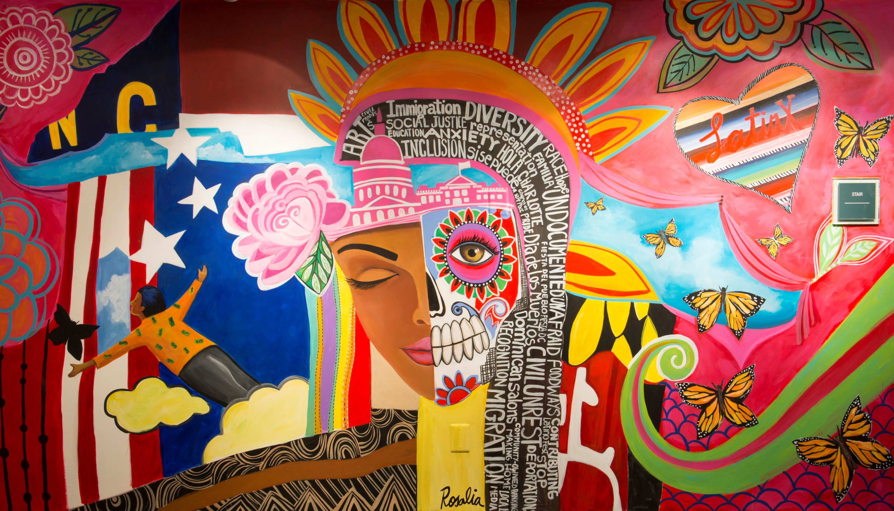 Colorful mural of a woman