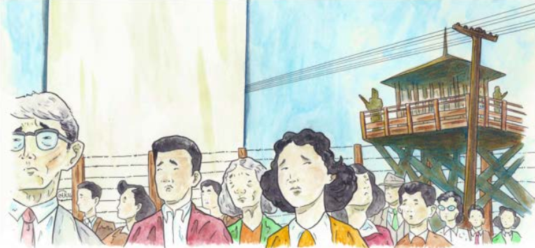 Illustration of Japanese-American men and women in an internment camp