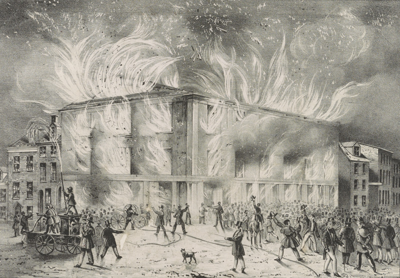 """Destruction by fire of Pennsylvania Hall, the new building of the Abolition Society, on the night of the 17th May,"" courtesy of Library of Congress"