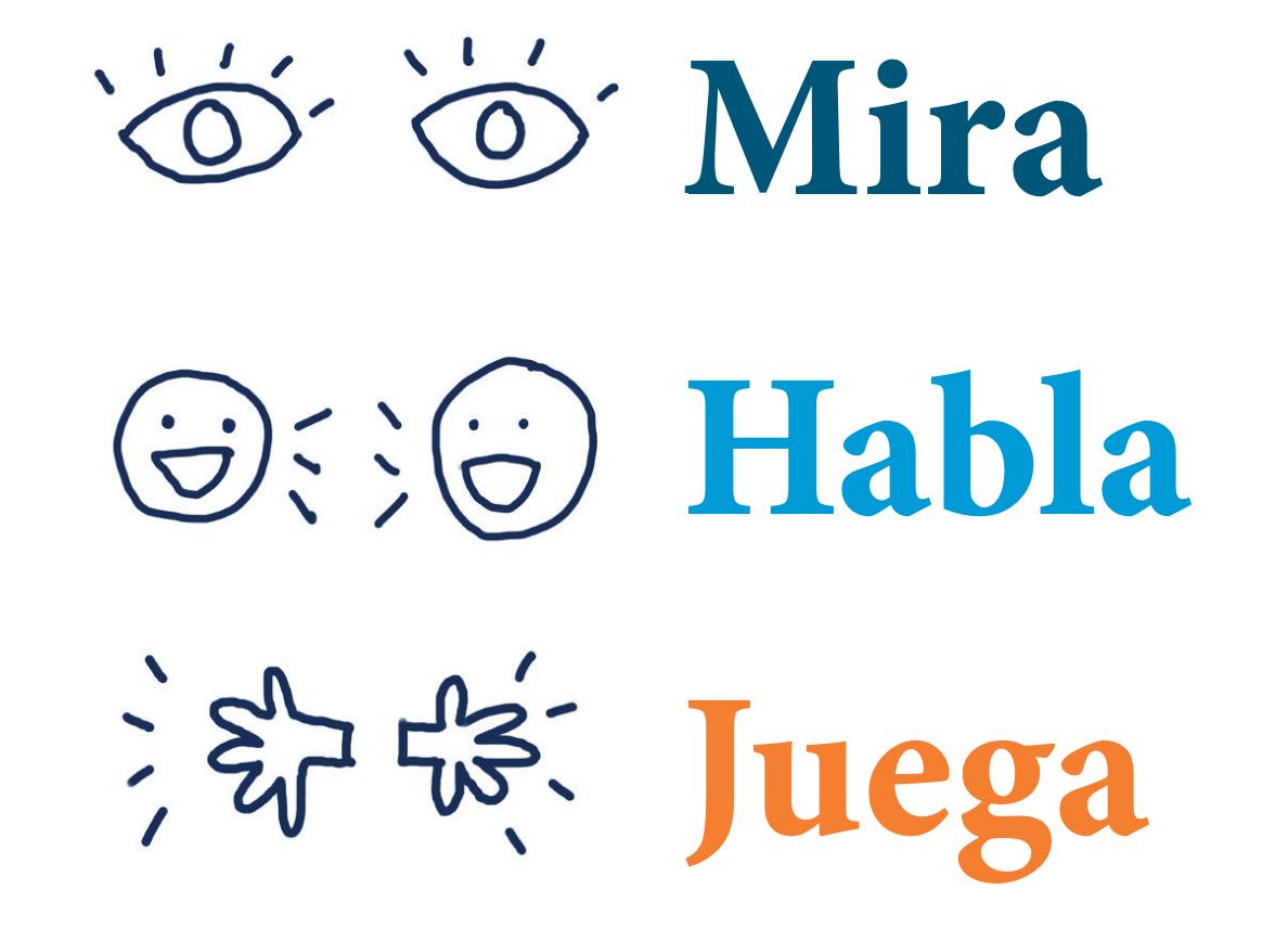 Look Talk Play logo in Spanish