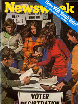 Newsweek magazine cover, with image of young people registering to vote
