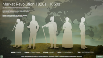 Silhouettes of people from the 1800s with a world map in the background