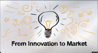 Illustration of lightbulb with text from innovation to market