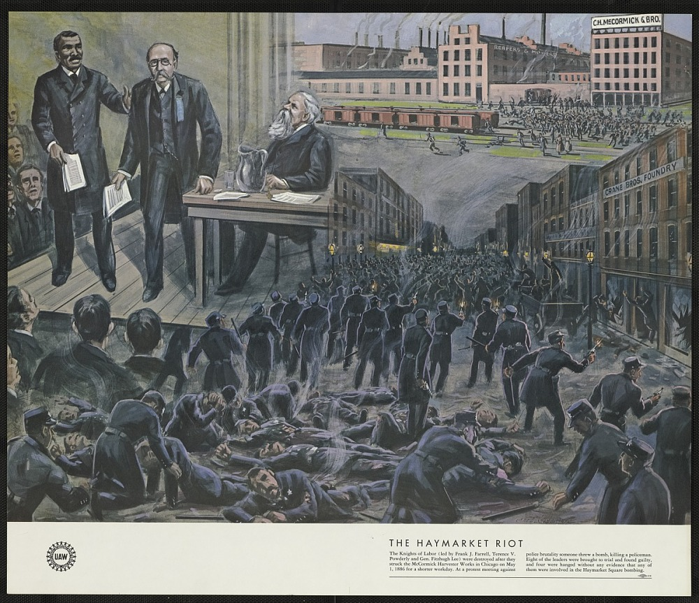 An image depicting a scene of a riot
