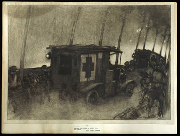 Image of ambulance driving to battlefield, May 30, 1918