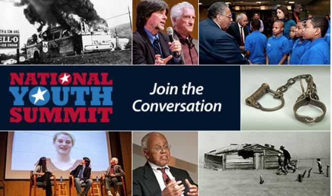 """Collage of images from past National Youth Summits with center block that reads """"National Youth Summit: Join the conversation"""""""