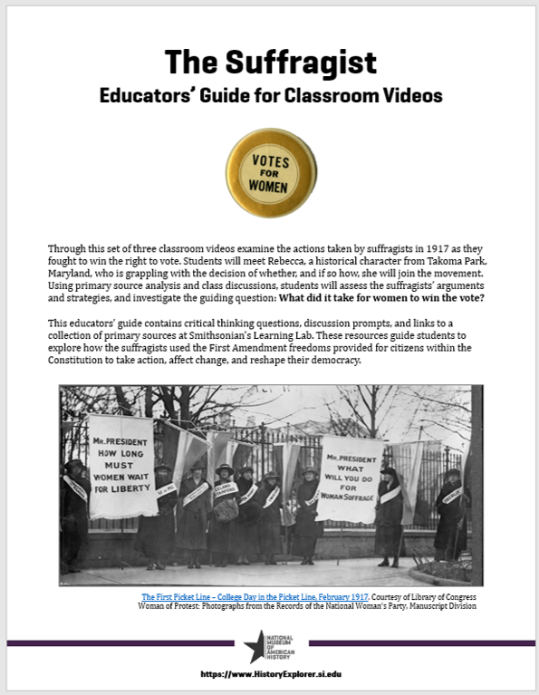 Image of the front page of the Suffragist Educators' Guide