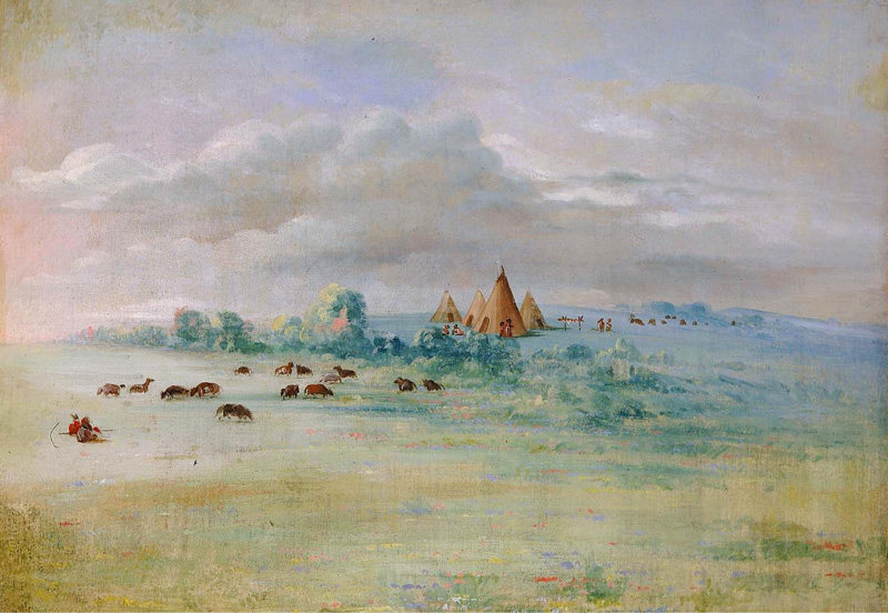 """Sioux Village, Lake Calhoun, near Fort Snelling,"" courtesy of Smithsonian American Art Museum"