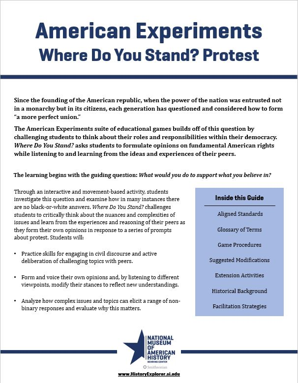 "Thumbnail image of the ""Where Do You Stand? Protest"" lesson plan"