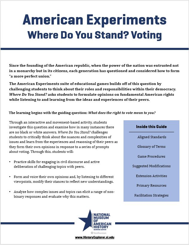 "Thumbnail image of the ""Where Do You Stand? Voting"" lesson plan"