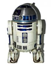 R2-D2 from Return of the Jedi, a small robot, mainly white with blue and silver accent pieces