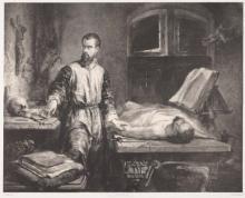Lithograph portrait of Andreas Vesalius