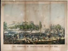 Chromolithograph that depicts American forces attacking the fortress palace of Chapultepec on Sept. 13th, 1847