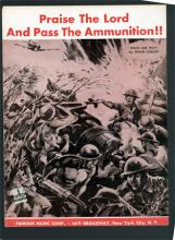 "Sheet music for ""Praise the Lord and Pass the Ammunition"" with battle scene on the cover"