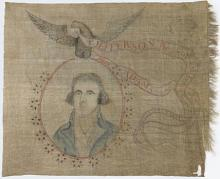 "Linen banner he banner picturing Jefferson's likeness below an eagle with a streamer in its beak that proclaims, ""T. Jefferson President of the United States of America / John Adams is no more."""