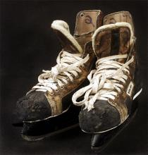 Phil Verchota's brown and black leather hockey skates worn at the 1980 Olympic Games