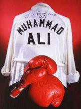 Muhammad Ali's red boxing gloves and white robe with black lettering