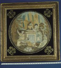 Embroidered mourning picture showing a woman, two girls and a boy
